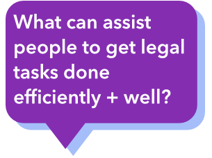What can assist people to get legal tasks done efficiently and well?