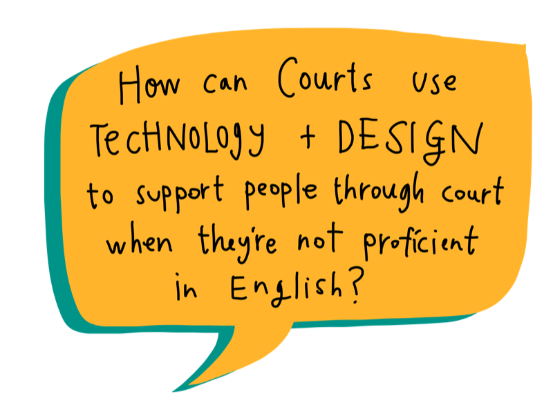 How can we best use technology to support people going through court without a lawyer, when they are not proficient in English?