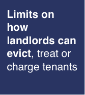 Limits on how landlords can evict, treat, or charge tenants